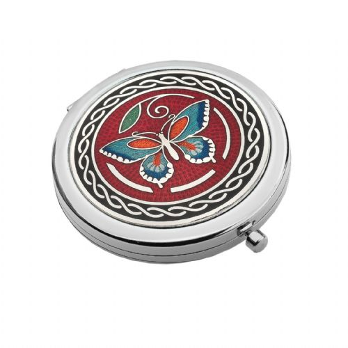 Compact Mirror Silver Plated Butterfly Celtic Handbag Magnifying Travel Cosmetic